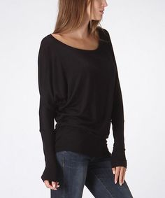 Black Long-Sleeve Dolman Top | zulily