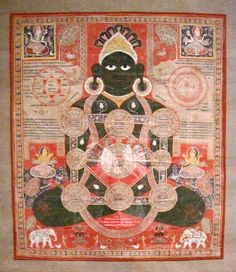 Depicting the cosmic Parsvanatha, this extremely rare painting is a type of meditative picture consisting of a cosmic diagram, in this case superimposed on the seated figure of Parsvanatha, one of the principal deities of the Jain religion. Similar in concept and function to Buddhist mandalas, the mystic diagram is dominated by linked squares and circles representing the Jain cosmos. The nine interconnected circles represent the continents, mountains and rivers of the universe. Symmetrically…