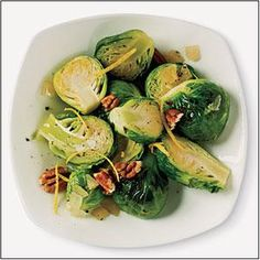 Sauteed Brussels Sprouts with Lemon and Pecan Recipe | MyRecipes.com