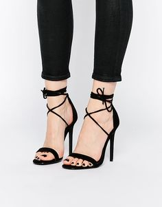 simple modern black strappy heels