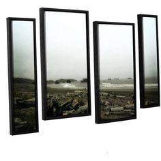 ArtWall Kevin Calkins Driftwood and Seastacks 4-Piece Floater Framed Canvas Staggered Set, Size: 24 x 36, Brown