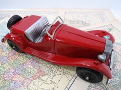Hubley 485 Die Cast MG Sports Car Convertible - Red & Silver - Vintage 1950s  EXCELLENT Condition by UrbanRenewalDesigns on Etsy