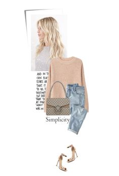 """simplicity"" by beingaries ❤ liked on Polyvore featuring Post-It, MANGO, Wrap, Gucci and Verali"