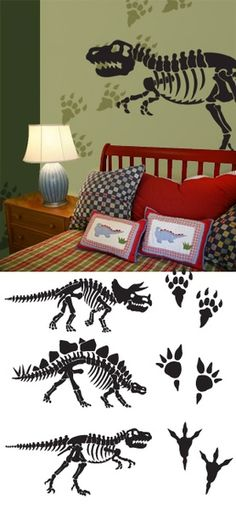 Dinosaur Bones Wall Decals Stickers - would love to have the fossils on canvas or wood to just hang in the boys' playroom Big Boy Bedrooms, Kids Bedroom, Bedroom Decor, Bedroom Ideas, Wall Stickers, Wall Decals, Wall Art, Dinosaur Bedroom, My New Room