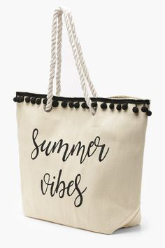 6919fb38e4a Ivy Slogan And Pom Pom Straw #Beach #Bags #summer #summervibes #beachbag.  Boohoo NA