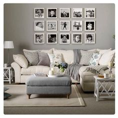 Gray palette and gallery wall prints are perfect.