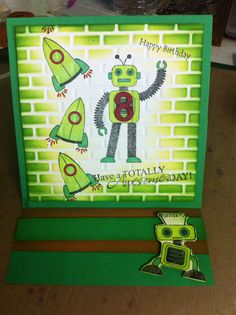 Robot Easel Card - created using all Kaszazz products