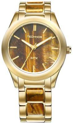 b2e89c89e40 Relógio Technos Elegance Stone Collection Olho de Tigre 2033AD 4M