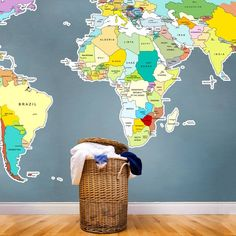 Wicker Basket is surrounded by the Printed World Map Vinyl Wall Sticker... #wicker #basket #map pinned by wickerparadise.com