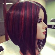 Inverted Bob with fun red highlights.