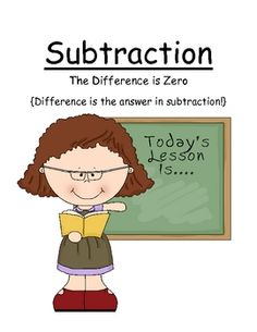 "FREE Math Subtraction Center Game ~ ""The Difference is Zero"
