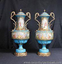 Pair Sevres Porcelain Baluster Urns Vases Ormolu Fixtures - $2,159.02
