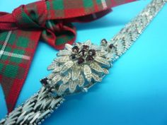 Vintage Silver Garnet Bracelet 7 1/4 inch Maximum Wrist Fit