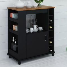 Liquor-Cabinet-Wine-Bar-Wood-Kitchen-Cart-Island-Black-Table-Bottle-Holder-Tea