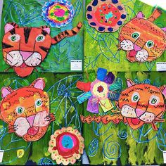 These TIGERS from the @cassie_stephenz are so good! They get so many compliments! Great project completed by my 2nd graders! We gave them a 3-D effect by adding upside down paper plates to the backs of the tiger heads before gluing them to the backgrounds. #artteacher #arted #artproject #elementaryart #whattheartteacherwore #artteachersofinstagram #artteachersofig #iteachart #artteacherlife #intheartroom #ebcartclass