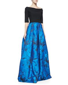 T8GN2 Black Halo Eve Hayley Colorblocked Full-Skirt Gown