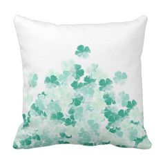 Mint green turquoise shamrocks watercolor pattern throw pillow - st patricks day gifts Saint Patrick's Day Saint Patrick Ireland irish holiday party