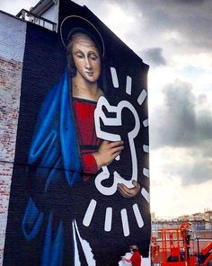 """Owen Dippie at work on """"The Radiant Madonna"""" featuring Keith Haring tribute, in Brooklyn, 7/15 (LP)"""