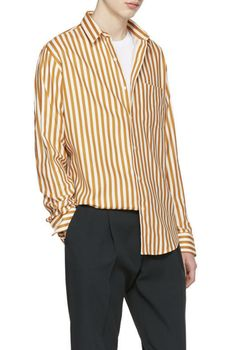 AMI Alexandre Mattiussi Orange & Ecru Striped Shirt from SSENSE (men, style, fashion, clothing, shopping, recommendations, stylish, menswear, male, streetstyle, inspo, outfit, fall, winter, spring, summer, personal)