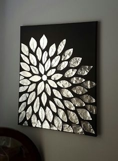DIY wall art. Blank canvas, aluminum foil, and ...