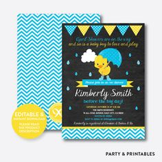 April Shower Blue... http://partyandprintables.com/products/april-shower-duck-chalkboard-baby-shower-invitation-editable-instant-download-cbs-34?utm_campaign=social_autopilot&utm_source=pin&utm_medium=pin #partyprintables #birthdayinvitation #partysupplies #partydecor #kidsbirthday #babyshower