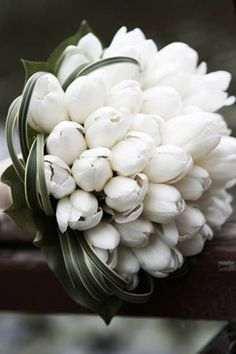 Tulips for the bride's maid's bouquets. Pure white to offset all the gem tones