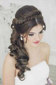 Fishtail headband wedding hairstyle bridal hairstyle