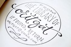 Custom Ex Libris Stamp. Hand-written script lettering and all caps.