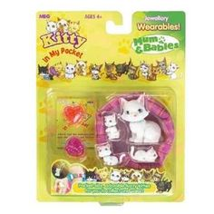 Kitty In My Pocket Mum and Babies Adorable fuzzy kitties for you to collect and wear! Includes a Mummy cat, 3 wearable Newborns and a variety of jewellery accessories. Colours and styles may vary http://www.comparestoreprices.co.uk/childs-toys/kitty-in-my-pocket-mum-and-babies.asp