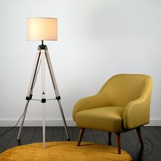 Nautical Style 'Marine' Wooden Tripod Floor Lamp with Drum Shade - White Shade - Light On - Lifestyle Shot