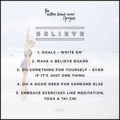 Let's get down to business - join our month-long Active Living Project to create the lifestyle of your dreams. It all starts with Believe in week one. Fitness Motivation Quotes, Health Motivation, Fitness Tips, Goal Planning, Listening To You, Me Time, Cool Words, Believe