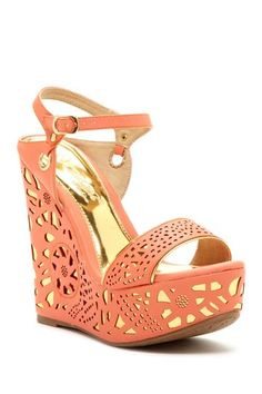 Elegant Footwear Puntie-1 Perforated Wedge Sandal by Elegant Footwear on @HauteLook