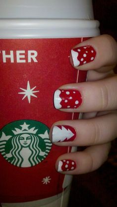 christmas nails.  the nail paint designs i usually see discourage me cuz they require fancy material and/or loads of time..  but what i <3 about this it seems to easy - comparitively - and can be achieved with a thin painting brush! :D