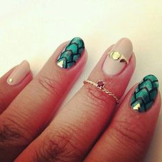 Lovely mermaid scales and nude studded nail art...x