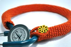 "Crochet stethoscope cover...think I'll try this style next time, I like the ""loop and button"" closure on it"