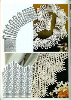 crochet home: beautiful crochet lace Filet Crochet, Crochet Motifs, Crochet Diagram, Crochet Chart, Crochet Trim, Irish Crochet, Crochet Doilies, Crochet Stitches, Crochet Border Patterns