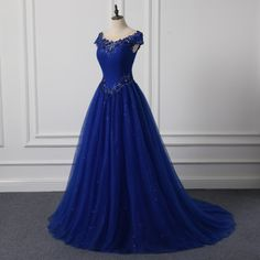New O Neck Appliqued Long Prom Dresses Royal Blue Sequins Tulle Ball Gown Evening Gowns Wedding. Click visit to buy #PromDress #Dress