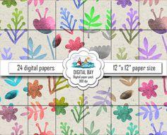 WATERCOLOR FLOWERS  Digital paper pack  Instant by DigitalBay