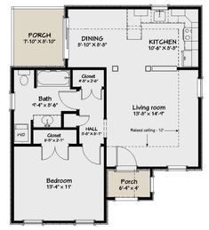 Tiny Cottage Floor Plans, Small Cottage Homes, Small House Floor Plans, Cabin Floor Plans, Cottage House Plans, The Cottage, Small Homes, Tiny Home Plans, Mini Homes