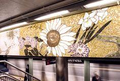 77th Street Robert Kushner 4 Seasons Seasoned, 2004 Glass mosaic on mezzanine walls above stairs