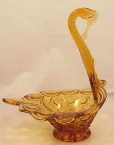 "Vintage Amber Art Glass Swan Candy Bowl Bubble Button Dish Pattern 7 3/4"" Tall"
