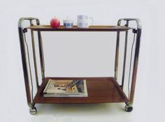 Vintage Folding Serving Cart Faux Bois and Chrome by oppning, €140.00