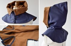 London and Herjolfsnes inspired hood, blue and brown.