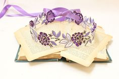 """Beautiful and lovely purple and lavender color embroidery flower lace sash. You can use it for headtie or headband item. Approx 1.5"""" purple, lavender and gold edge flower lace is 18"""" long and it has 5/8"""" soft quality double faced satin ribbon 36"""" long on each side. Very natural and warm sash. Your sash will ship on lovelike gift box."""