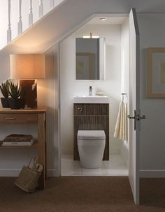 Did you know you could turn an under stairs space into a small bathroom? Just install a cute toilet sink combo and add a mirror above it. Space Under Stairs, Bathroom Under Stairs, Basement Bathroom, Basement Stairs, Under The Stairs Toilet, Bathroom Closet, Basement Ideas, Bathroom Plumbing, Open Basement