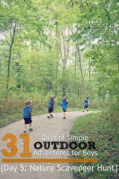 Day 5 Nature Scavenger Hunt Outdoor Adventures for Boys -- FREE printable via @Jen (QuatroMama)