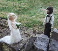 Weiteres - Filzskulptur Brautpaar♡ Indivualisierbar ♡ - ein Designerstück von Giodali bei DaWanda