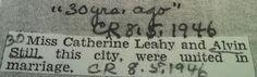 Genealogical Gems: Wedding Wednesday: Alvin Still weds Catherine Leah...