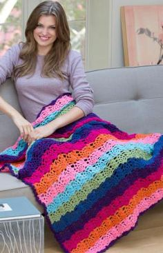 Rainbow View Throw - Choose 7 colors as shown or any combination of colors that freshens your outlook! This wonderful crocheted throw is a wonderful way to brighten any living space.