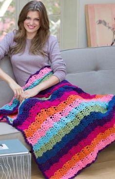 Rainbow View Throw Crochet Pattern | Red Heart